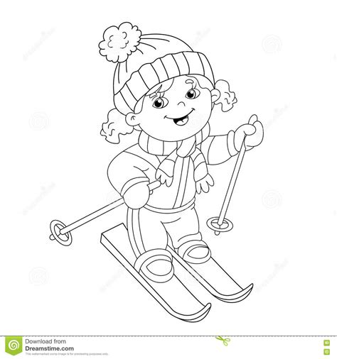 girl winter coloring page coloring page outline of cartoon girl riding on skis stock