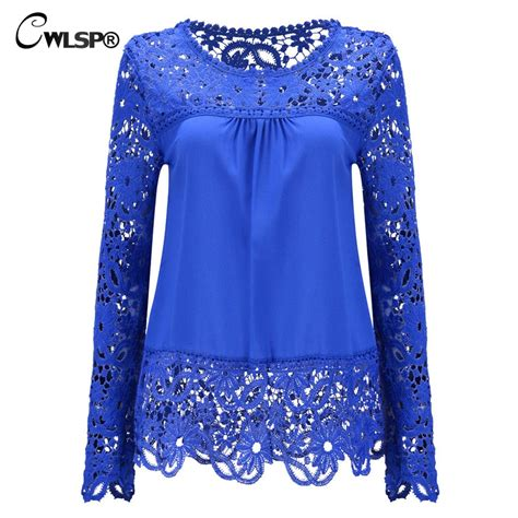 Hoodie Hollow 2 Xxxv Cloth cwlsp plus size chiffon blouses shirts sleeve tops lace blouses hollow out crochet