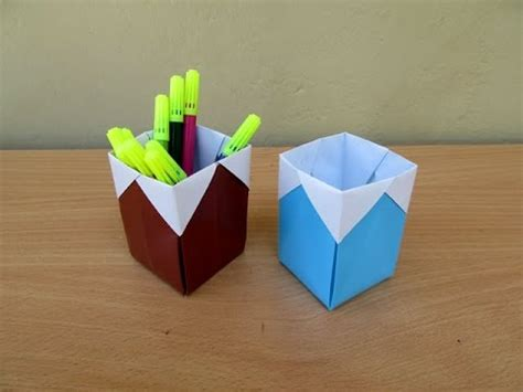 How To Make A Holder Out Of Paper - how to make a paper easy pen holder easy tutorials