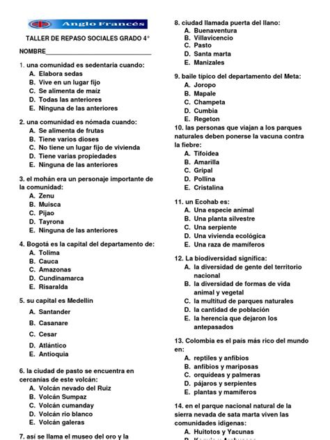examen icfes grado sexto uno segundo periodo 2014 las resultado de imagen para talleres de ciencias sociales