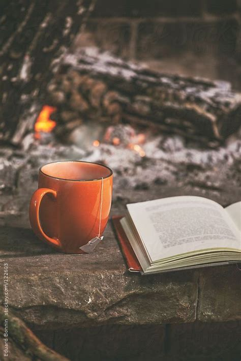 coffee wallpaper portrait a hot cup of tea and book in a fireplace by eduard bonnin