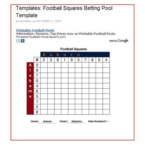 Super Bowl Square Template Make It Easy On Yourself The Right Predictions Will Be Much Harder Bowl Box Template