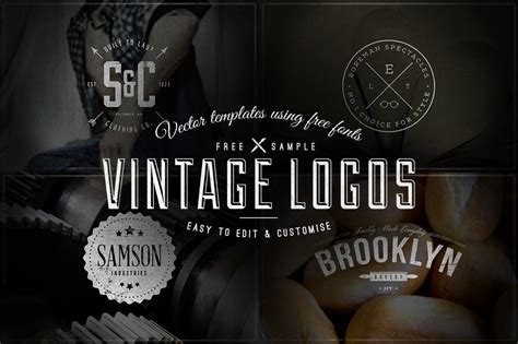 free download 4 vintage logos badges vector templates