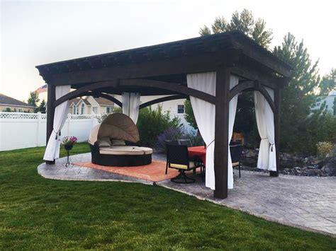 diy pergola kits diy pergola kit backyard bed dining w privacy curtains