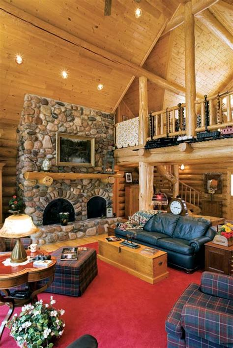 log cabin great room planning an fashioned log home log home living