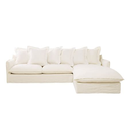 white linen sofa uk 7 seater washed linen corner sofa in white barcelone