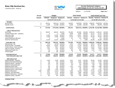 variance report sle budget statement template 28 images budget statement