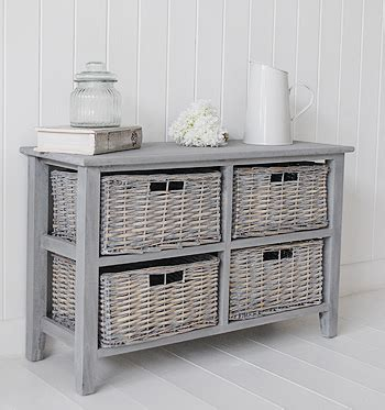 Storage Bench Wicker Baskets St Ives Grey 4 Drawer Low Basket Storage Furniture From