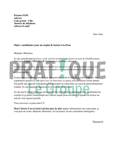 Exemple De Lettre De Motivation Chauffeur Livreur Gratuite Lettre De Motivation Pour Un Emploi De Facteur 224 La Poste Pratique Fr
