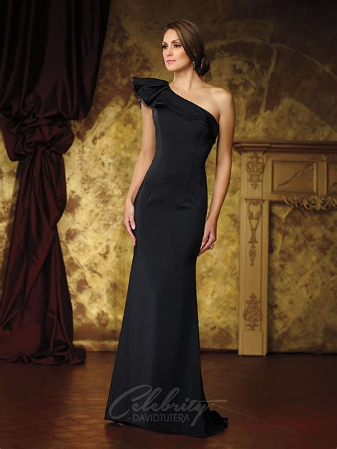 celebrity david tutera dt ruffled  shoulder dress