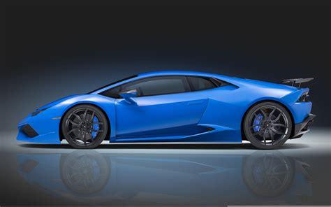 Lamborghini Huracan blue supercar side view wallpaper
