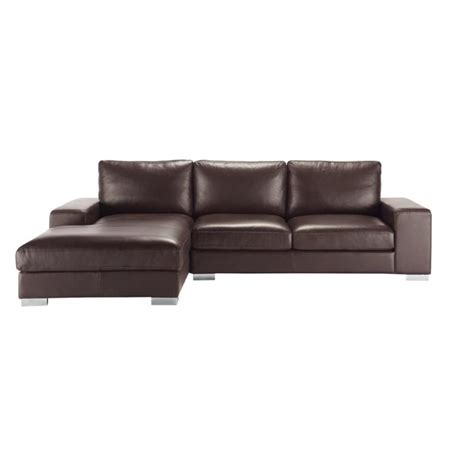 Corner Brown Leather Sofa 5 Seater Leather Corner Sofa In Brown New York Maisons Du Monde