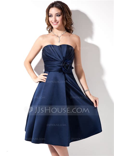 satin a line sweetheart knee length bridesmaid dress with