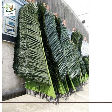 artificial tree uses uvg ptr015 2m silk artificial palm tree leaves in plastic steel use for trunk decoration