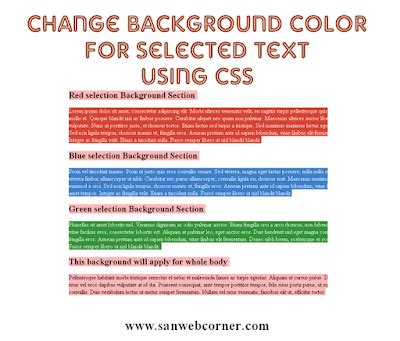 change background color css change background color for selected text using css3