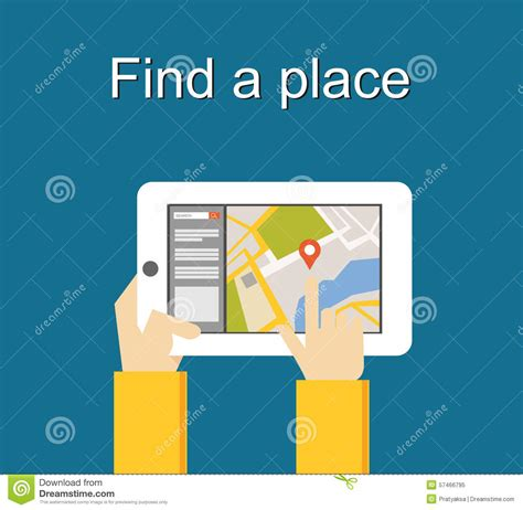 Search By Location Find A Place Concept Illustration Flat Design Search