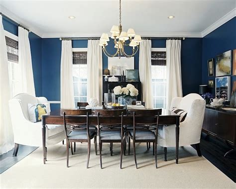 blue walls transitional dining room benjamin chion cobalt lonny magazine