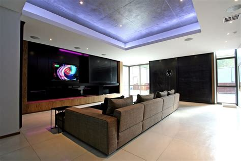 luxury and large contemporary house tv room home