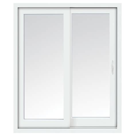 stanley doors 72 in x 80 in glacier white right sliding low e vinyl patio door with