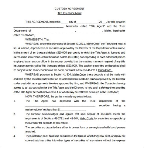 Custody Agreement Letter Exle 10 Custody Agreement Templates Free Sle Exle Format Free Premium Templates