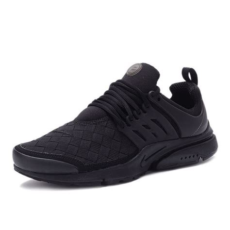 mens nike air presto se woven all black running shoes