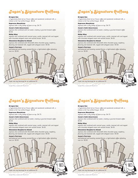 table tent menu template menupro 183 menu design sles from menupro menu software