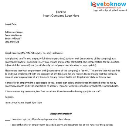 Professional Offer Letters Free Printable Offer Letter Sle Form Generic