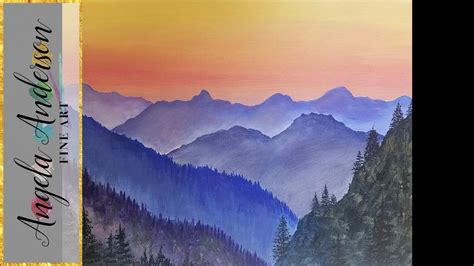 painting acrylic landscapes easy way simple mountain landscape acrylic painting tutorial live
