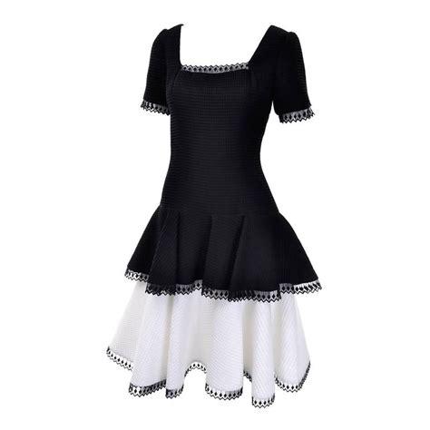 Dress Fashion Black Wafel 1980s victor costa vintage dress lou montecito black white waffle weave 8 for sale at 1stdibs