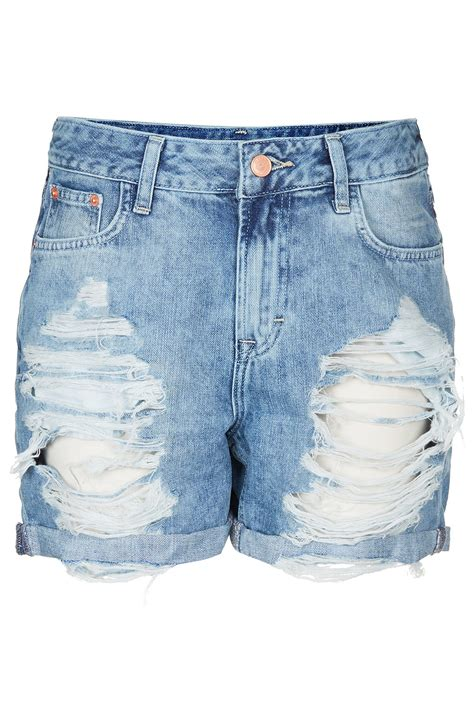 ripped denim lyst topshop ripped denim boy shorts in blue