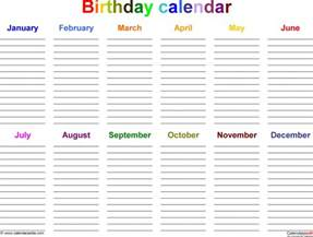 12 month calendar template word 12 month birthday calendar template free calendar template