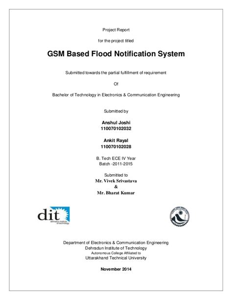 Mid Year Report Template Mid Term Project Report Gsm Based Flood Notification System