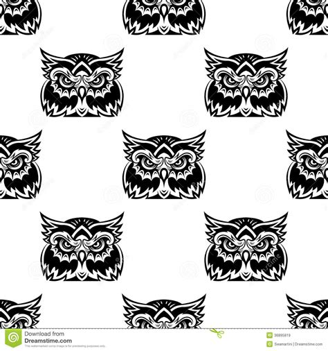 black and white owl pattern cute little wise old owl seamless pattern royalty free