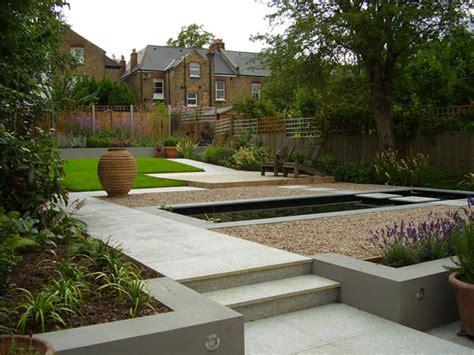 contemporary terraced garden  formal pool