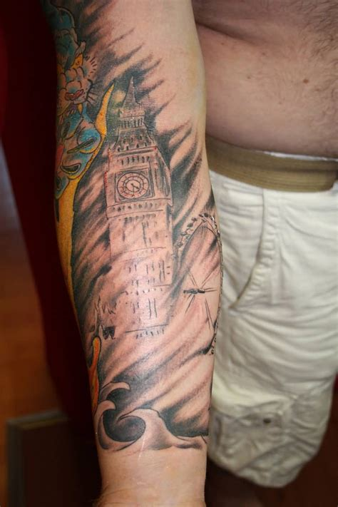 big tattoo big ben on left shoulder by evocativeink