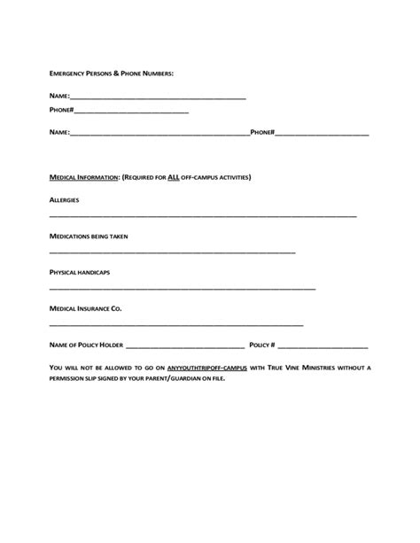 youth registration form template youth ministry registration form true vine ministries