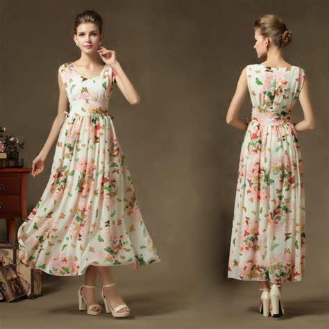 pattern dress long beach wear long dress flower pattern slim waist women ball
