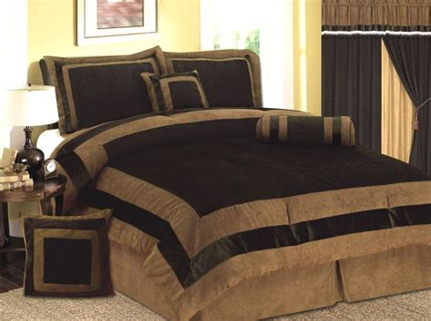 new 7 pcs mocha brown micro suede bed in a bag comforter