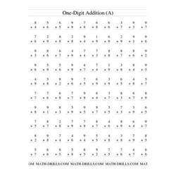 addition worksheet single digit addition 100