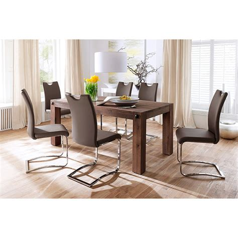 leeds solid wood 6 seater dining table with koln chairs