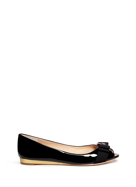 patent leather flats burch trudy patent leather open toe flats in black lyst