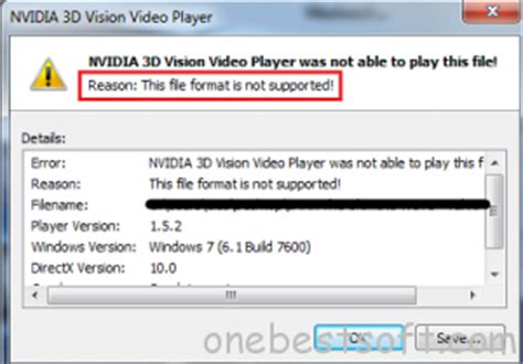 file format not supported video codec none solutions to play 3d mkv with nvidia 3d vision one best