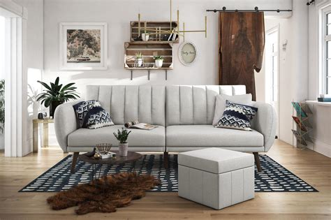 novogratz brittany convertible sofa novogratz brittany linen futon grey dhp furniture