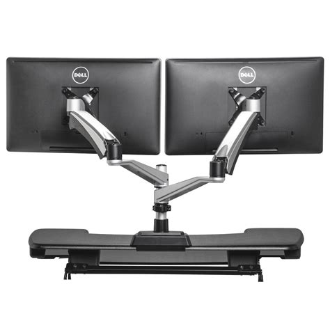 dual monitor stand up desk dual monitor arm varidesk 174
