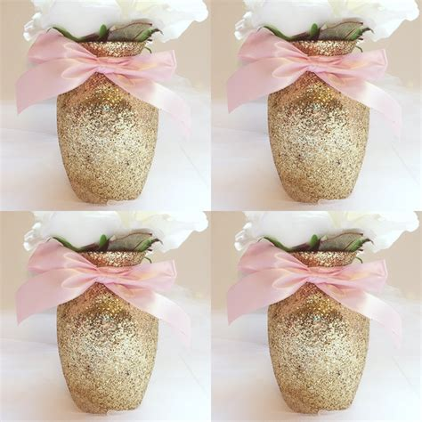 4 gold pink vases baby shower decorations baby shower