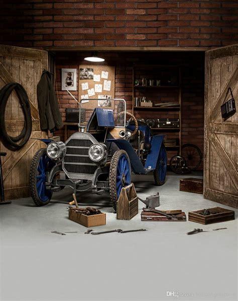 Workshop Khemiko Shop Wallpaper 5m 2018 vintage garage photography backdrop blue car wooden