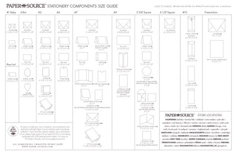Stationery Components Size Guide Envelope Card Size Chart Papersource Com Cards Invites Paper Source Envelope Template Pdf