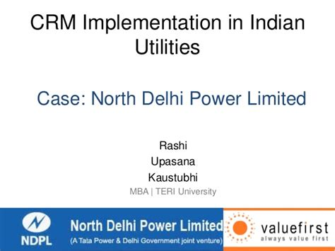 Crm Syllabus Mba by Crm Implementation In Indian Utilities On Ndpl