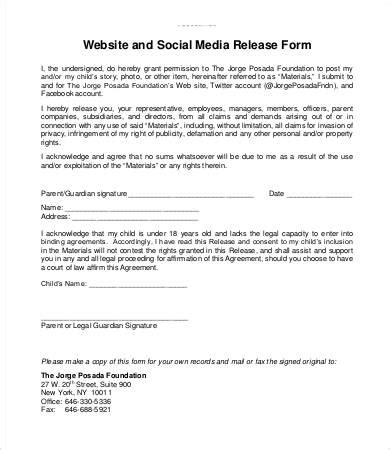 Media Release Form Template Business Media Release Form Template
