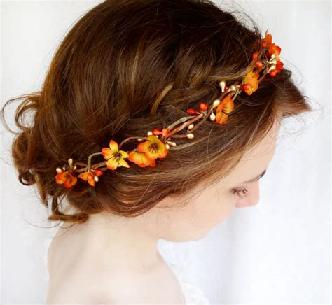 wedding hair accessories orange fall hair accessories bridal hair circlet autumn by